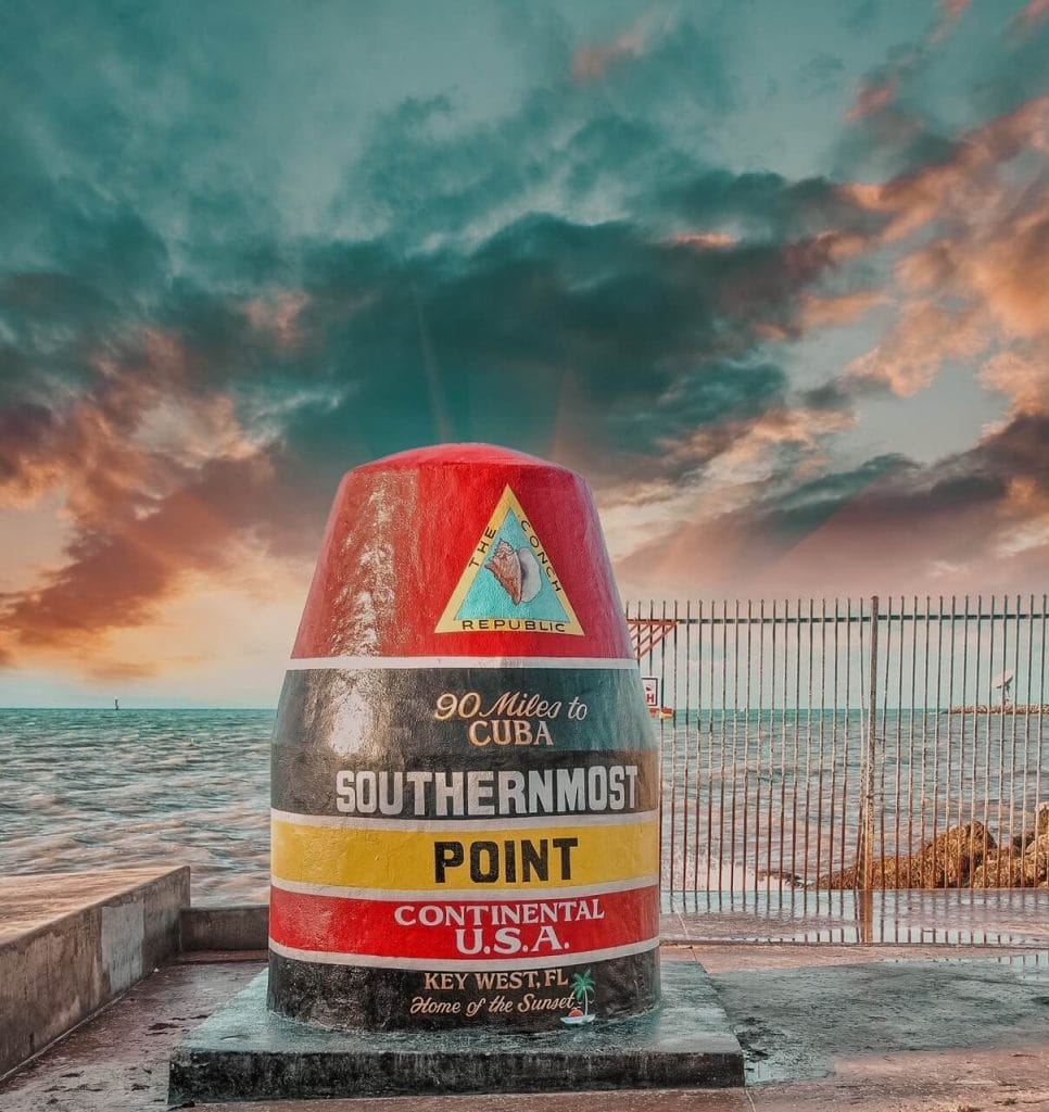 Southernmost Point of Continental US in the evening - Key West itinerary