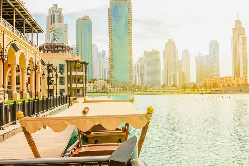 Wooden boats are used by tourists to see the show of the Dubai Fountain docked near the Souk Al Bahar in the Burj Khalifa Lake.